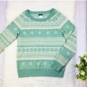 J. Crew Green Printed Wool Cashmere Sweater SMALL